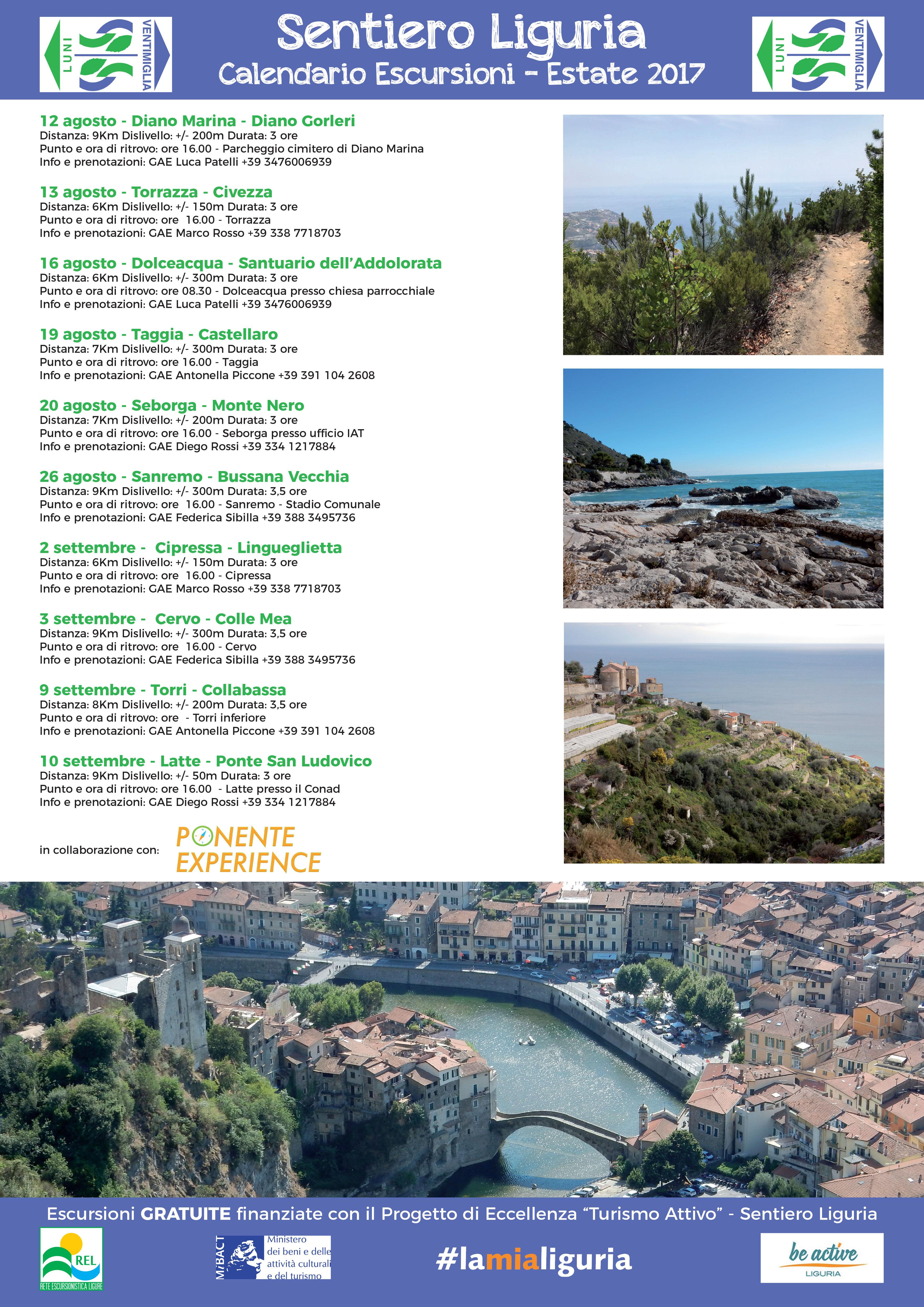 locandina escursioni Imperia Turismo Attivo